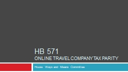 HB 571  Online Travel Company Tax Parity