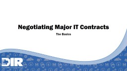 Negotiating Major IT Contracts