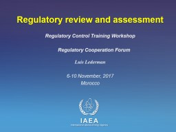Regulatory review and assessment
