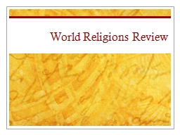 World  Religions Review Christianity (In Review)