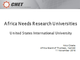 Africa Needs Research Universities