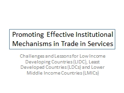Promoting Effective Institutional Mechanisms in Trade in Services