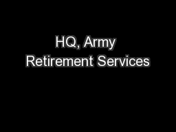 HQ, Army Retirement Services