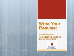 Write Your Resume: A workshop from