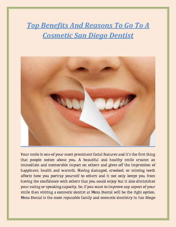 Top Benefits And Reasons To Go To A Cosmetic San Diego Dentist