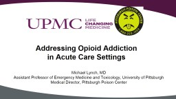 Addressing Opioid Addiction in Acute Care Settings