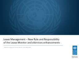 Leave Management � New Role and Responsibility
