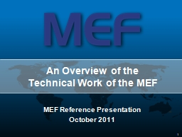 An Overview of the  Technical Work of the MEF
