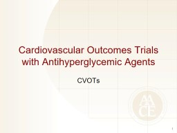 Cardiovascular Outcomes Trials with Antihyperglycemic Agents PowerPoint PPT Presentation