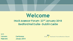 Welcome  INAB Assessor Forum – 23