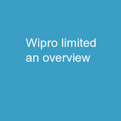 Wipro Limited-  An Overview