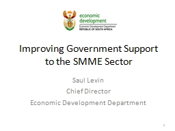Improving Government Support to the SMME Sector