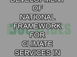 DEVELOPMENT  OF  NATIONAL FRAMEWORK FOR CLIMATE SERVICES IN SAUDI ARABIA