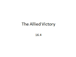 The Allied Victory 16.4 Strategy