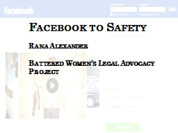 Facebook to Safety Rana Alexander