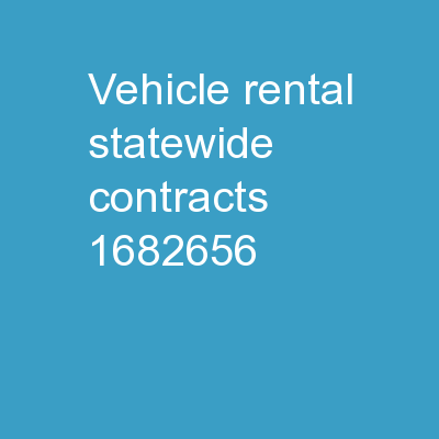 Vehicle Rental Statewide Contracts