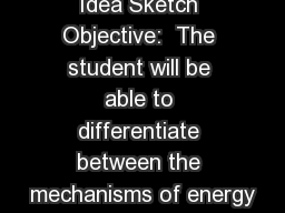 Idea Sketch Objective:  The student will be able to differentiate between the mechanisms of energy
