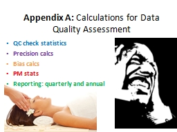 Appendix A:  Calculations for Data Quality Assessment