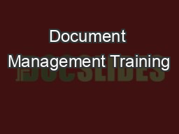Document Management Training