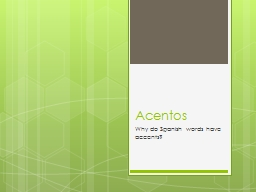 Acentos 	 Why do Spanish words have accents?