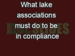 What lake associations must do to be in compliance