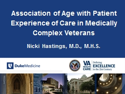 Association of Age with Patient Experience of Care in Medically Complex Veterans