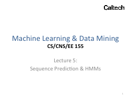 Machine Learning & Data Mining