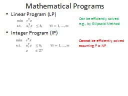 Mathematical Programs Linear Program (LP)