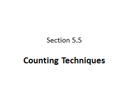 Section 5.5 Counting Techniques