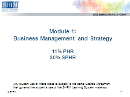 Module 1:  Business Management and Strategy