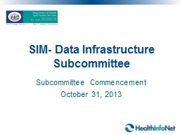 SIM- Data  Infrastructure