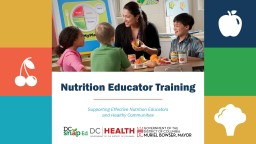 Nutrition Educator Training PowerPoint PPT Presentation