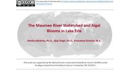 Impact of Land Use Activities in the Maumee River Watershed on Harmful Algal Blooms in Lake Erie