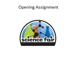 Opening Assignment Science Fair Research paper