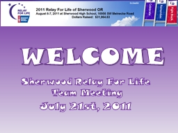 WELCOME Sherwood Relay For Life