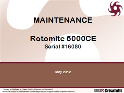 MAINTENANCE Rotomite  6000CE