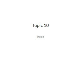 Topic 10 Trees Tree Definitions