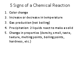 5 Signs of a Chemical Reaction