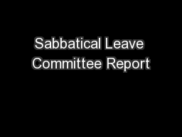 Sabbatical Leave Committee Report