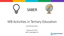 SABER WB Activities in Tertiary Education
