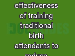 Costs and cost effectiveness of training traditional birth attendants to reduce neonatal mortality