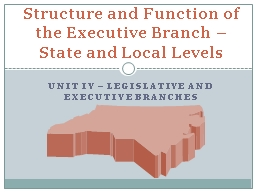 UNIT IV – Legislative and Executive Branches