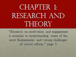 Chapter 1: Research and Theory