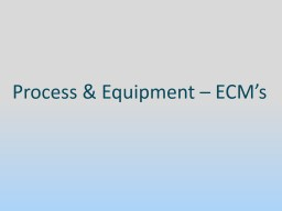 Process & Equipment � ECM�s