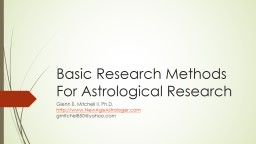 Basic Research Methods For Astrological Research