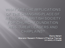 What  are the implications of the changing place of religion in British society for Church foundation