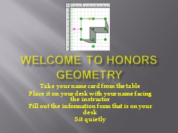 Welcome to Honors Geometry PowerPoint PPT Presentation