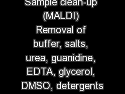 Sample clean-up (MALDI) Removal of buffer, salts, urea, guanidine, EDTA, glycerol, DMSO, detergents