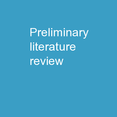 Preliminary Literature Review