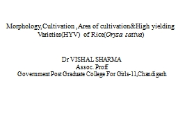 Morphology,Cultivation  ,Area of